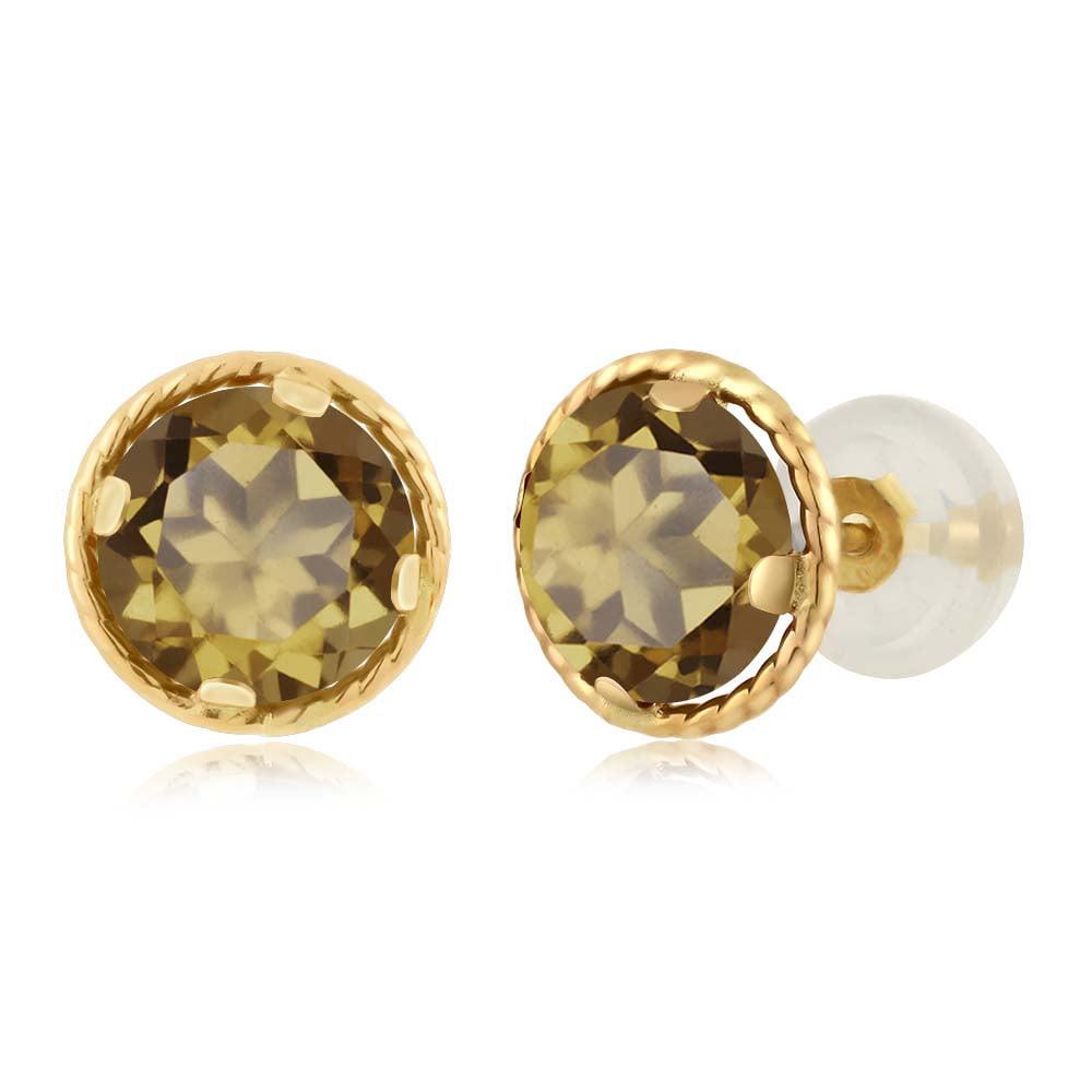 1.60 Ct Round 6mm Whiskey Quartz 14K Yellow Gold Stud Earrings