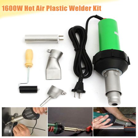 1600W Professional Electronic Heat Hot Air Torch Plastic Welding hotairgun Gun Pistol + Speed Nozzle + Pressure Roller (Plastic Torch)