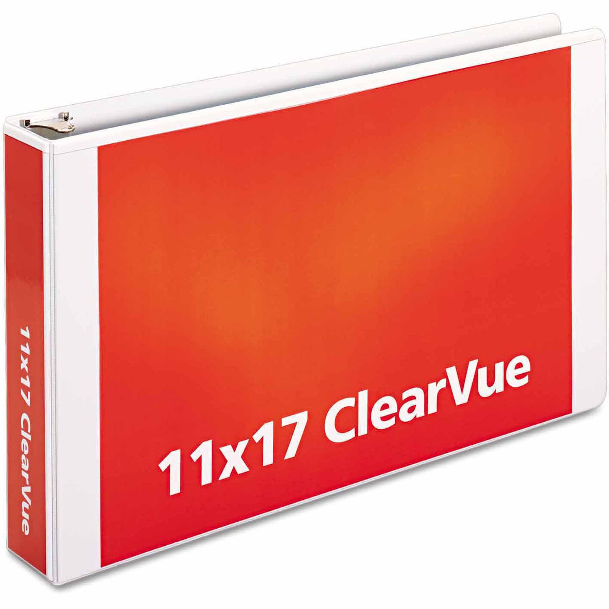 "Cardinal Tabloid ClearVue Slant-D Ring Binder, 2"" Capacity, 11"" x 17"", White"