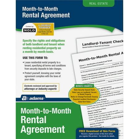 Adams Abflf255 Monthly Rental Agreement Form Set 1 Walmart Com