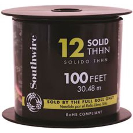 Southwire Simpull Thhn, 12 Gauge Thhn Solid Wire, Black, 100 Ft. Per ...