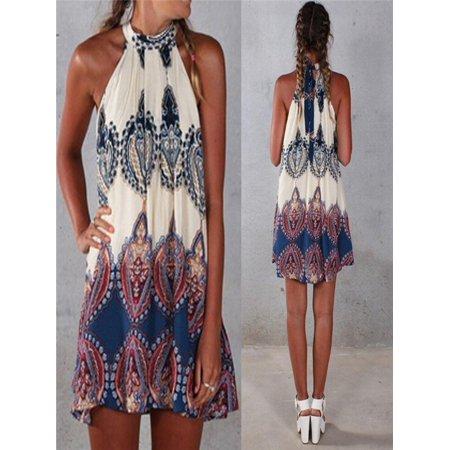 New Summer Womens Chiffon Sleeveless Flower Party Loose Casual Dress S