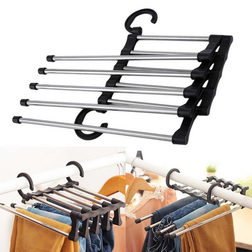 1pc Portable Hand-Held Folding Closet Organizer Trouser Pants Ties Scarf Shawl Rack Hanger Space Saving