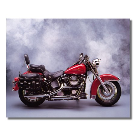 Red Harley Davidson Heritage Motorcycle Photo Wall Picture 8x10 Art Print