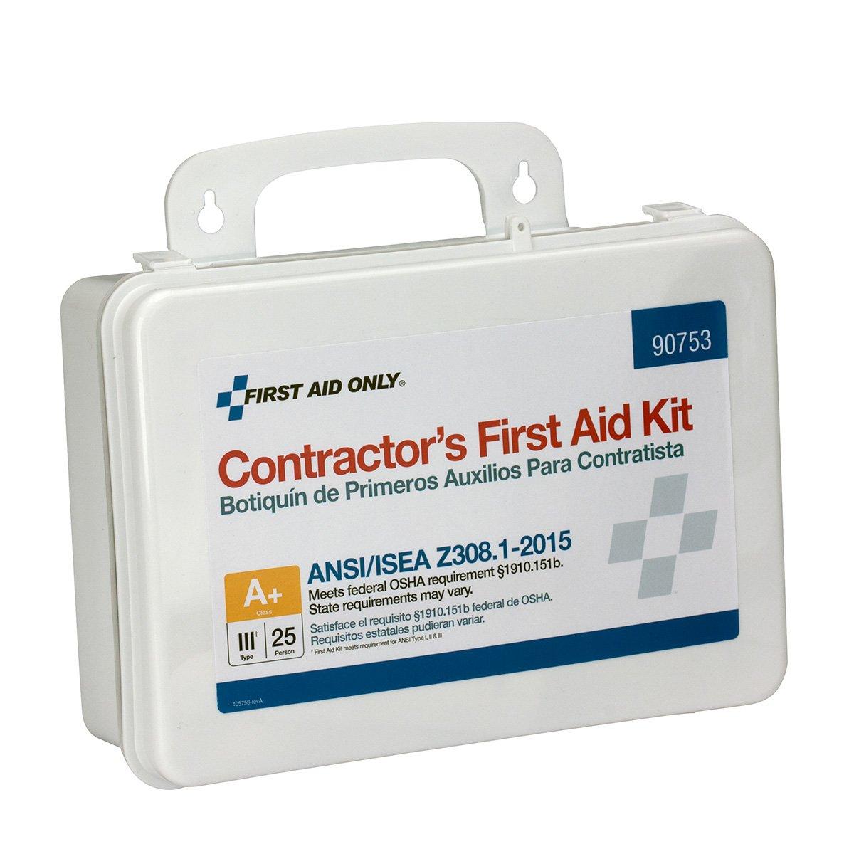 First Aid Only Inc 90753 Contractor Ansi Class A+ First Aid Kit For 25 People, 128 Pieces