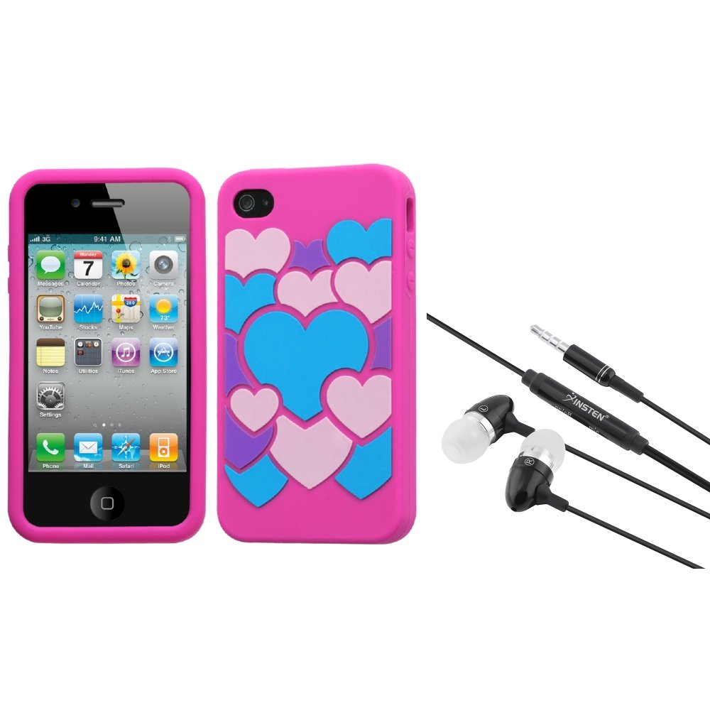 Insten Colorful Love/Hot Pink Pastel Case Cover For iPhone 4 4S + 3.5mm Headset