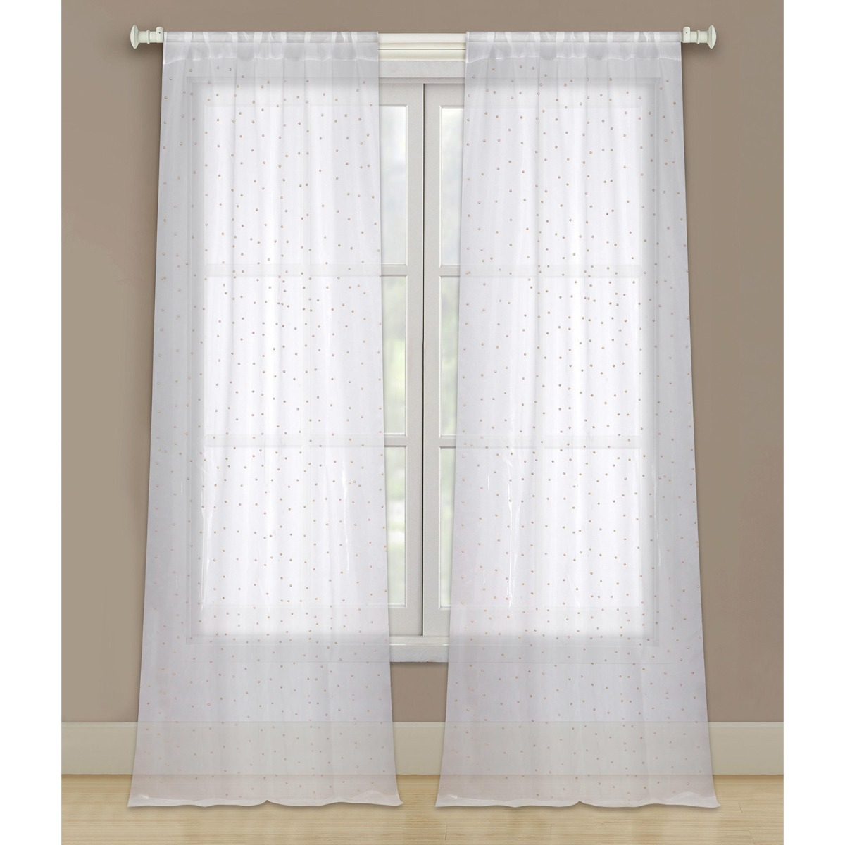 96 Sheer 2 Panel Window Curtains Rod Pocket Drapes For Bedroom Living Room And Dining Room White With Gold Beads Walmart Com Walmart Com