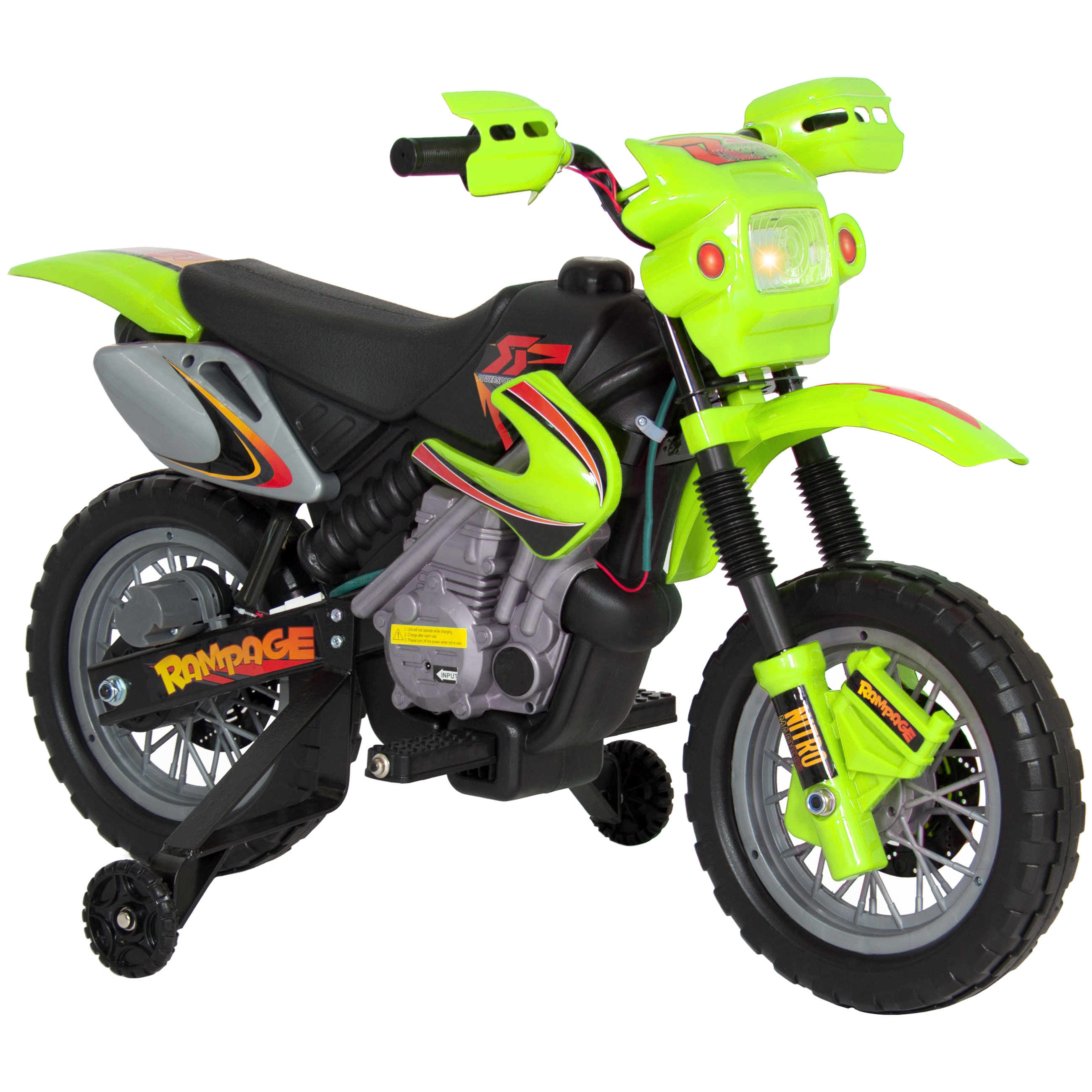 Best Choice Products Kids 6V Electric Ride On Motorcycle Dirt Bike w/ Training Wheels (Green)