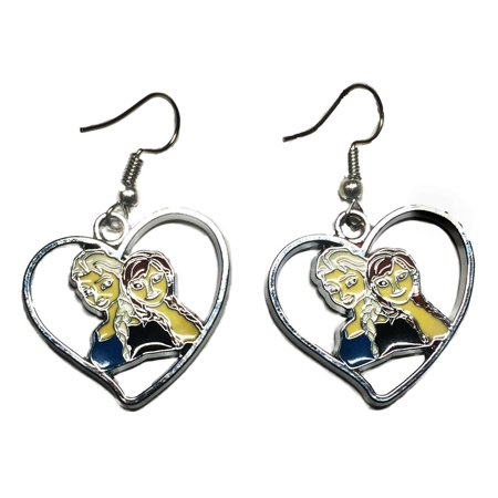 Frozen Sisters Anna and Elsa Heart Enamel Filled French Wire Earrings