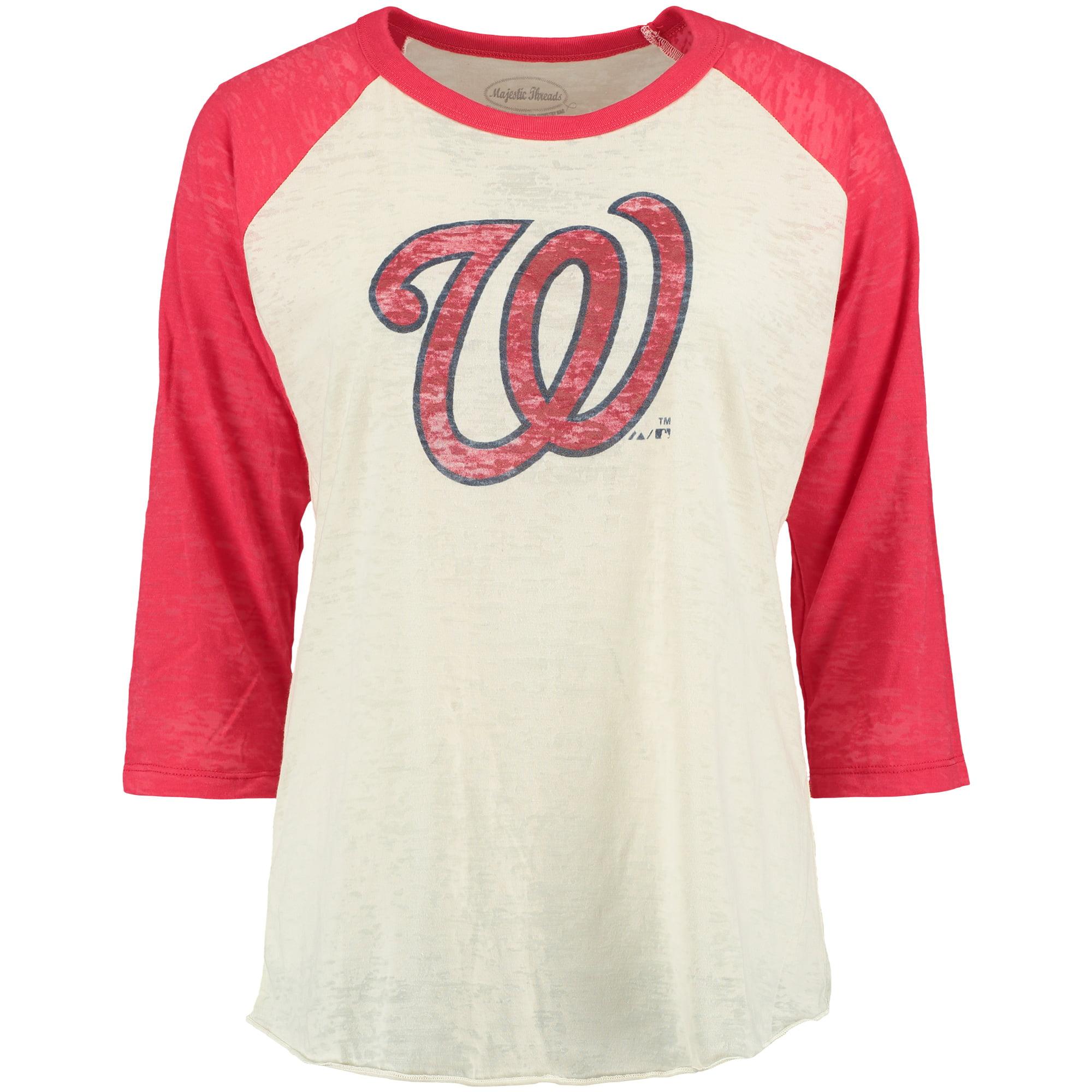 Washington Nationals Majestic Threads Women's Burnout Raglan Long Sleeve T-Shirt - Natural/Red