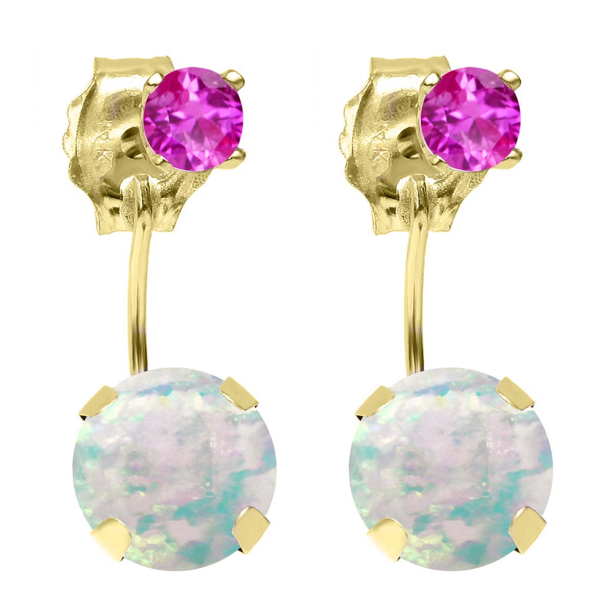 1.56 Ct Round White Simulated Opal Pink Sapphire 14K YG Top&Bottom Earrings by