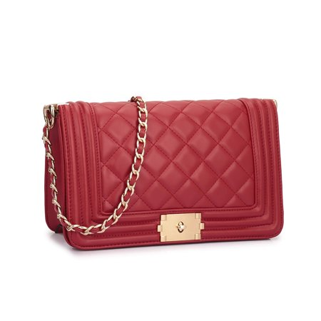 6f52fe0ef446 Dasein - Dasein Quilted Crossbody Bag with Intertwined Leather Goldtone  Chain Straps - Walmart.com