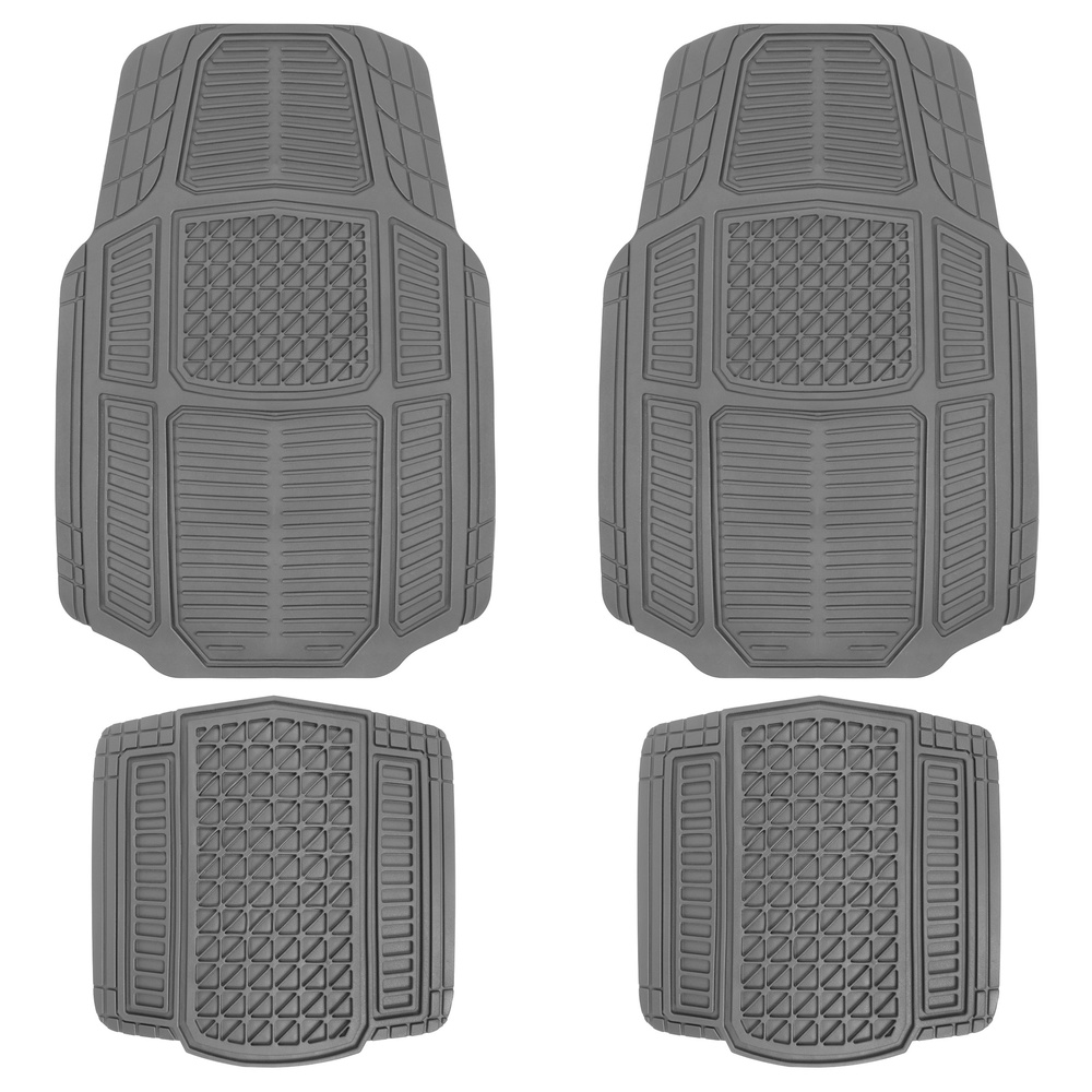 Motor Trend Black Rugged Earth Rubber Car Mats for Auto Truck SUV Van-All Weather Deep-Cut Catch-All Floor Liners