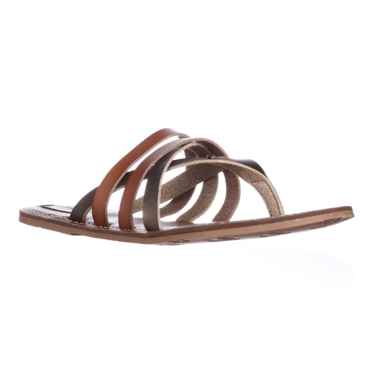 Womens Roxy Cyprus Flat Slide Thong Sandals - Gold