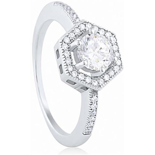 Doma Jewellery SSRZ6175 Sterling Silver Ring With Micro Set CZ, Size 5