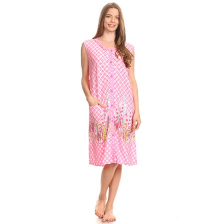 15026-1 Womens Capri Set Sleepwear Cotton Pajamas - Woman Sleeveless Sleep Nightshirt Pink # 59 XL