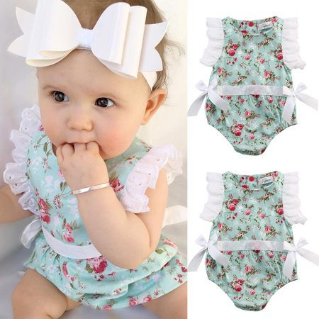 87af7ad623de Emmababy - Cute Newborn Toddler Baby Girl Clothes Lace Floral Romper  Bodysuit Outfits 0-24M - Walmart.com