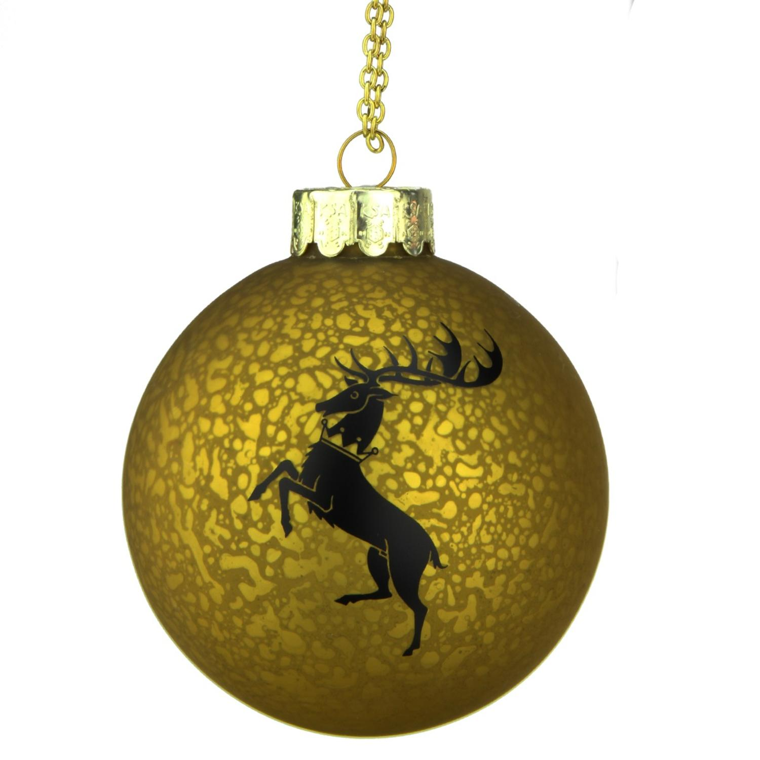 "3.5"" Gold and Black Game of Thrones Family Crest Decal Glass Christmas Ball Ornament"