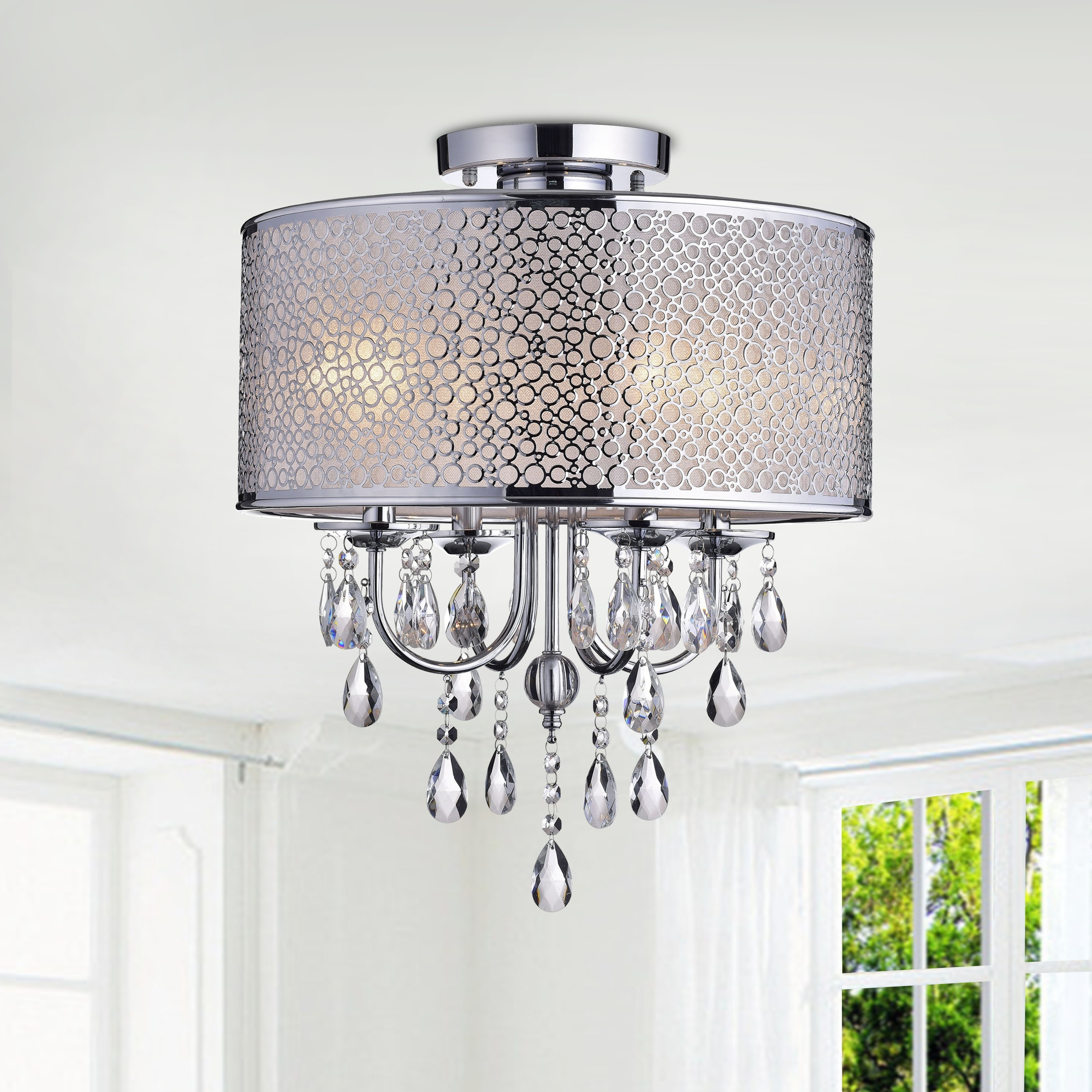 The Lighting Store Amalia Indoor 4-light Chrome Metal Drum Shade Crystal Flush Mount Chandelier