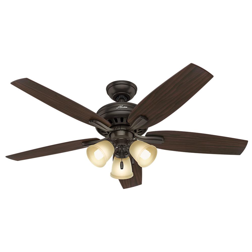 "Hunter 52"" Newsome Premier Bronze Ceiling Fan with Light"