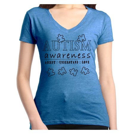 Shop4Ever Women's Accept Understand Love Autism Awareness Slim Fit V-Neck T-Shirt