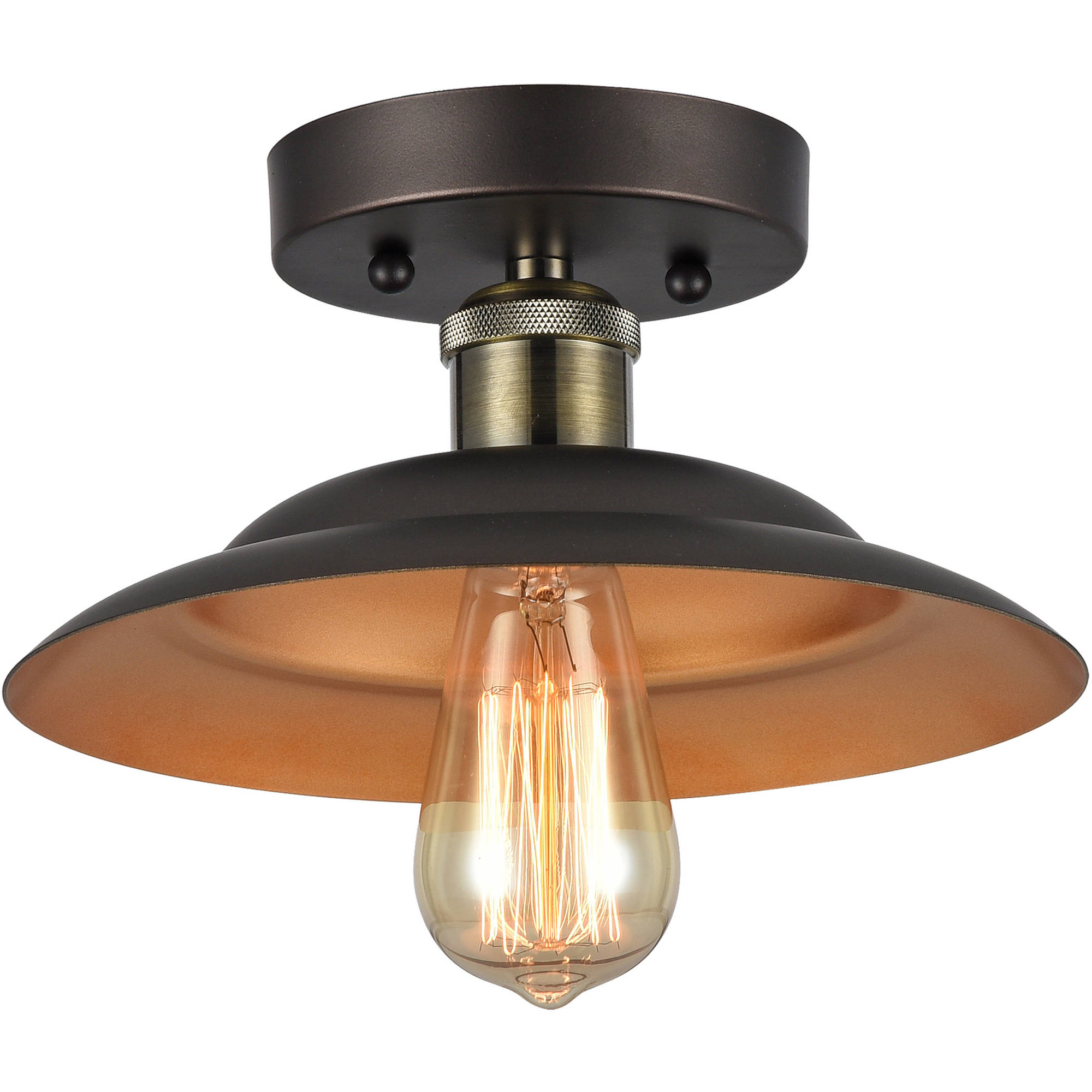"Chloe Lighting Ironclad Industrial-Style 1-Light Rubbed Bronze Semi-Flush Ceiling Fixture with 10"" Shade by Chloe Lighting"