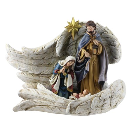 4-Piece Holy Family Wrapped in Angel Wings Christmas Nativity Set 10.25