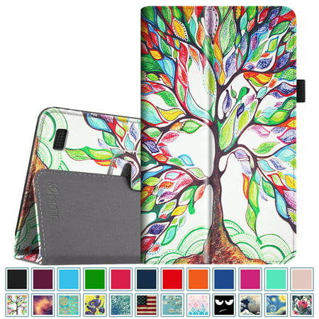 (Fintie Folio Case for All-New Amazon Fire 7 Tablet (7th Gen, 2017 Release) - Slim Fit PU Leather Stand Cover, Love Tree)