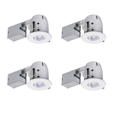 Globe Electric 4 in. White IC Rated Recessed Lighting Kit (4-Pack), LED Bulbs Included, 90733 (4 Recessed Lighting Ic Rated)