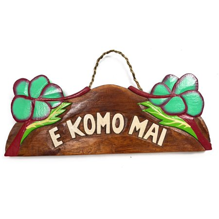 E Komo Mai  W  Hibiscus Wooden Sign 11  X 4 5    Turquoise    Snd25119