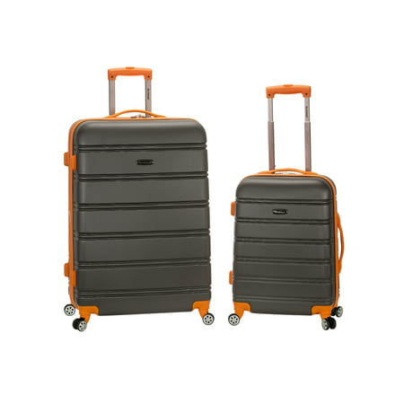 Rockland 2pc Expandable ABS Spinner Luggage Set - Charcoal