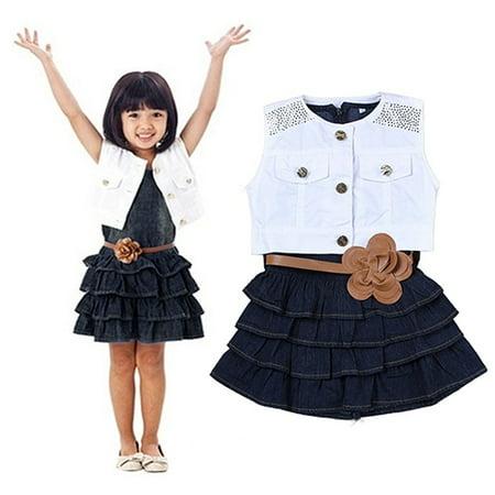 Girl12Queen Children Girls Summer Ruffle Dress + Vest Jacket + Flower Waist Belt Outfit - Ruffle Tiered Jacket Dress