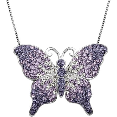 Sterling Silver Butterfly Pendant (Crystal Accent Sterling Silver Purple Fade Butterfly Pendant, 18