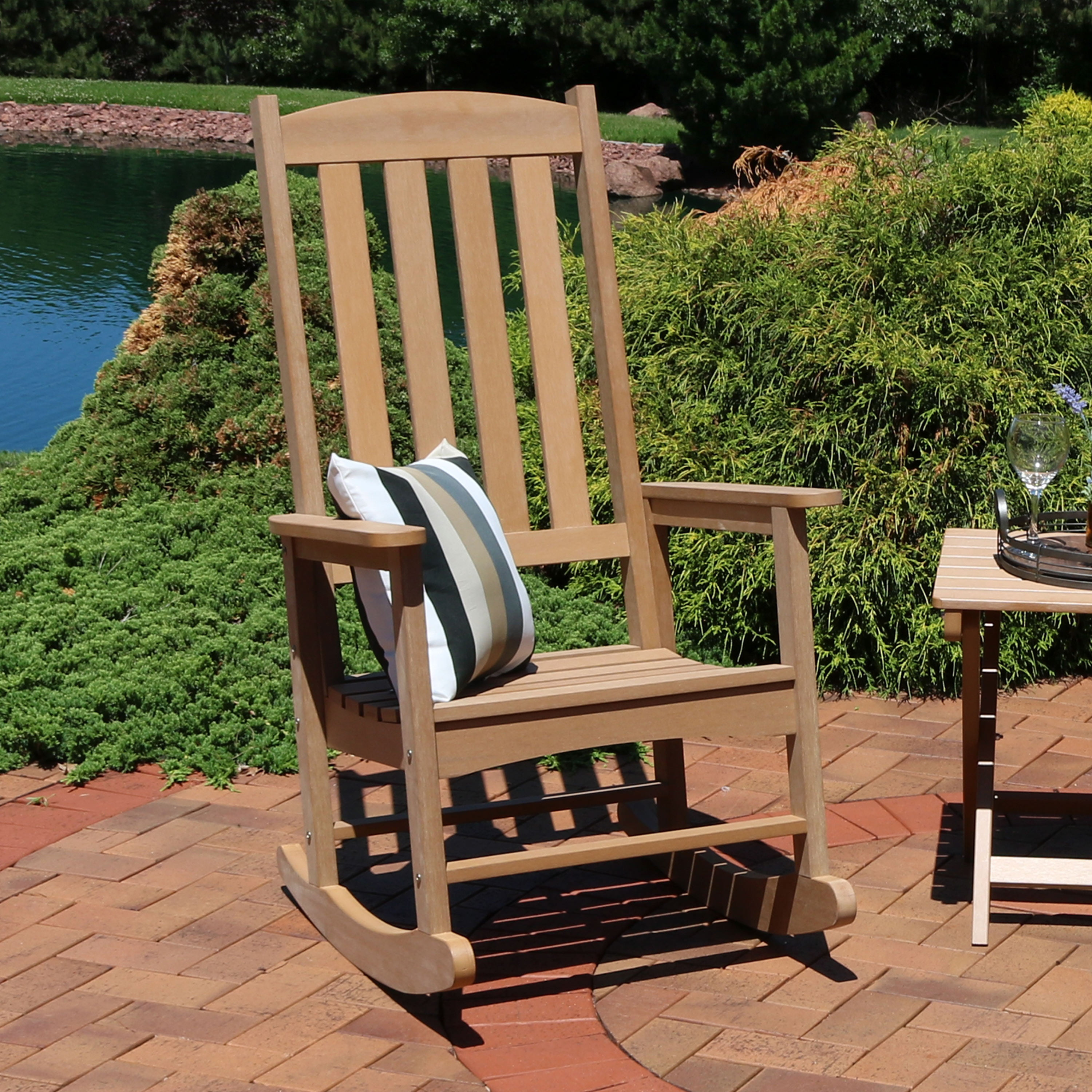 Sunnydaze Outdoor Patio Rocking Chair All Weather Faux Wood Design Brown