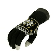 Unisex Black Jacquard Knit Winter Touchscreen Gloves - One Size
