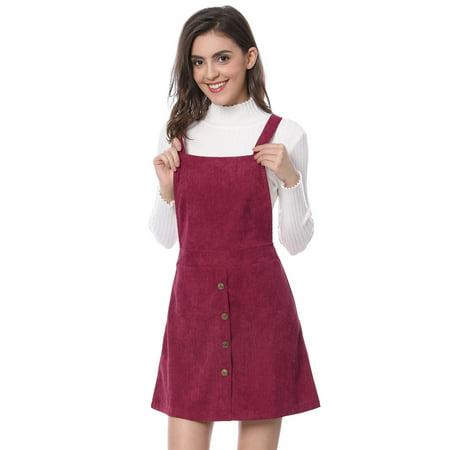 Women Corduroy Button Decor A Line Suspender Overall Dress Skirt Burgundy M (US 10)