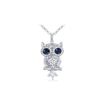 Eyed Owl Pendant - Silver Finish Tone Hooting Owl Big Blue Eyes Rhinestone Costume Pendant Necklace