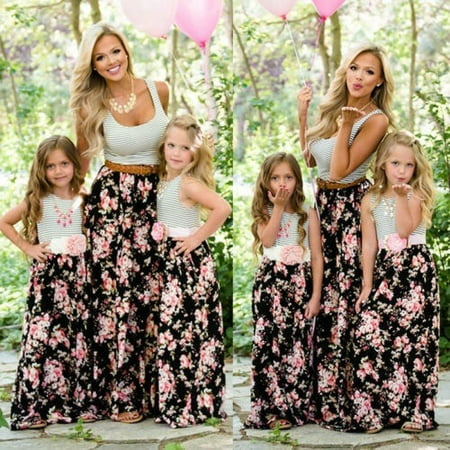 Women Girls Boho Maxi Long Floral Holiday Party Dress Family Matching Outfits Walmart Canada
