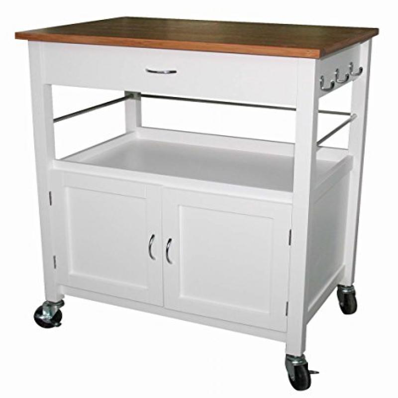 eHemco Kitchen Island Cart Natural Butcher Block Bamboo Top with White Base - Walmart.com