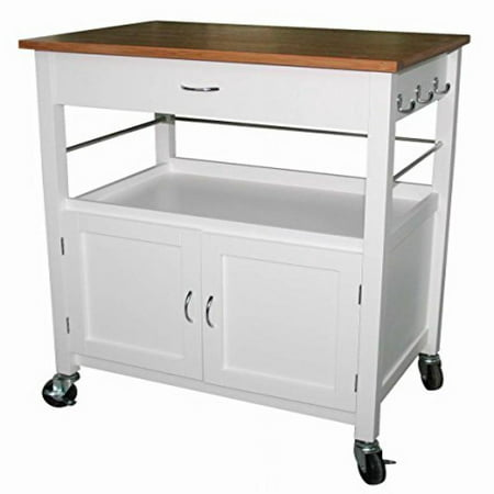 eHemco Kitchen Island Cart Natural Butcher Block Bamboo Top with White (Best Kitchen Cart With Knife Blocks)