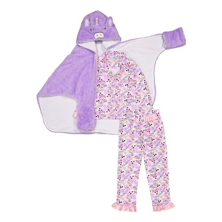 Bunz Kidz Costume Bath Wrap & Long Sleeve Pants Pajamas, 3-piece Gift Set (Toddler Girls)