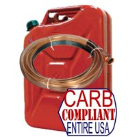 CLASSIC 5 Gallon Steel Jerry can (GAS) - NATO Dimensions with Self-Priming Fuel Siphon