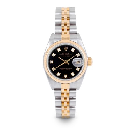 Pre Owned Rolex Datejust 69173 w/ Black Diamond Dial 26mm Ladies Watch (Certified Authentic & Warranty Included)