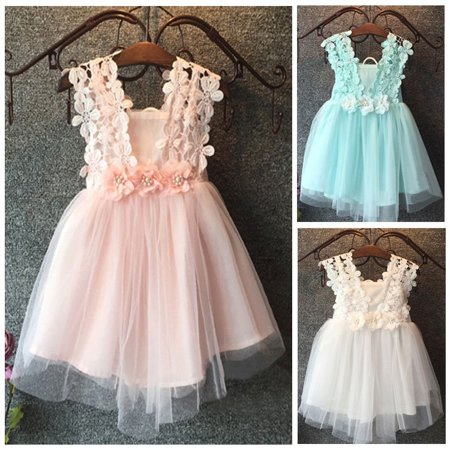 Celebrity Fancy Dress Halloween (Baby Girls Princess Lace Tulle Flower Fancy Gown Formal Party Dress)