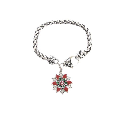 Poinsettia Christmas Holiday Crystal Accented Bracelet