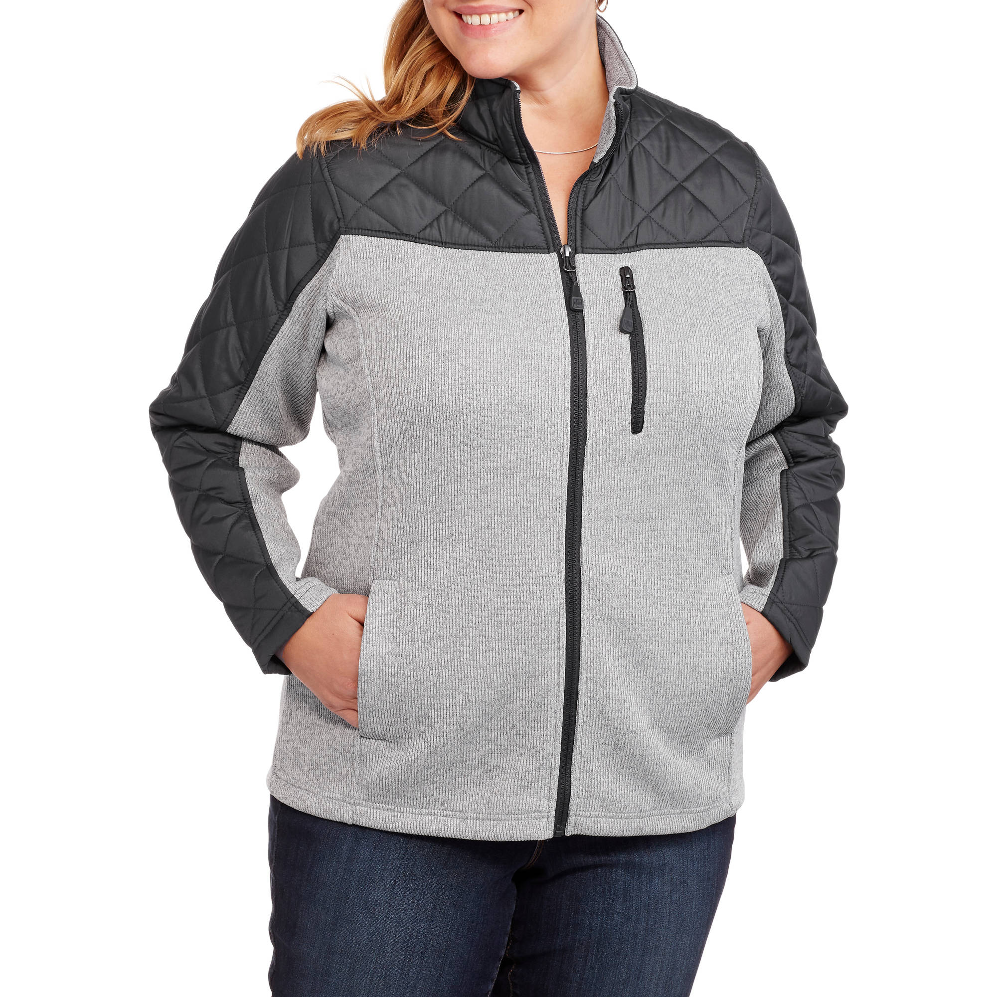 Swiss Tech Women's Plus-Size Quilted Tech Fleece Jacket