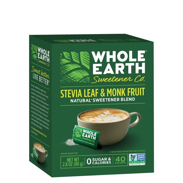 WHOLE EARTH SWEETENER Stevia Leaf and Monk Fruit Sweetener, Erythritol Sweetener, Sugar Substitute, Zero Calorie Sweetener, 40 Stevia Packets
