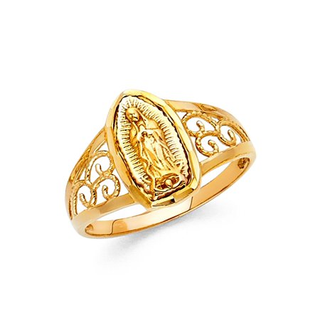 Solid 14k Yellow Gold Lady Gaudalupe Ring Virgin Mary Fancy Band Filigree Polished Style 12MM (14k Yellow Gold Filigree Ring)