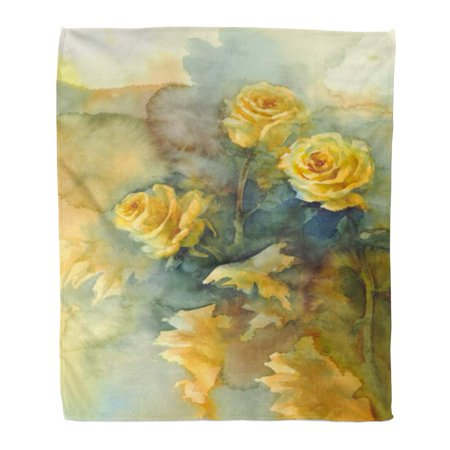 HATIART Flannel Throw Blanket Garden Colorful Elegant Yellow Roses Still Life Watercolor Orange Soft for Bed Sofa and Couch 58x80 Inches - image 1 of 1