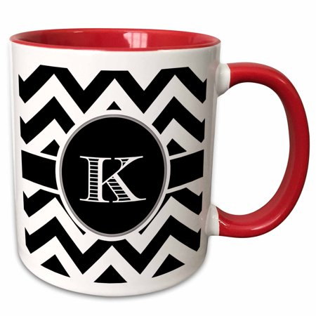 3dRose Black and white chevron monogram initial K - Two Tone Red Mug, 11-ounce](Monogrammed Cups)